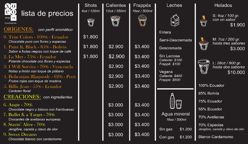menu Xoco Por Ti