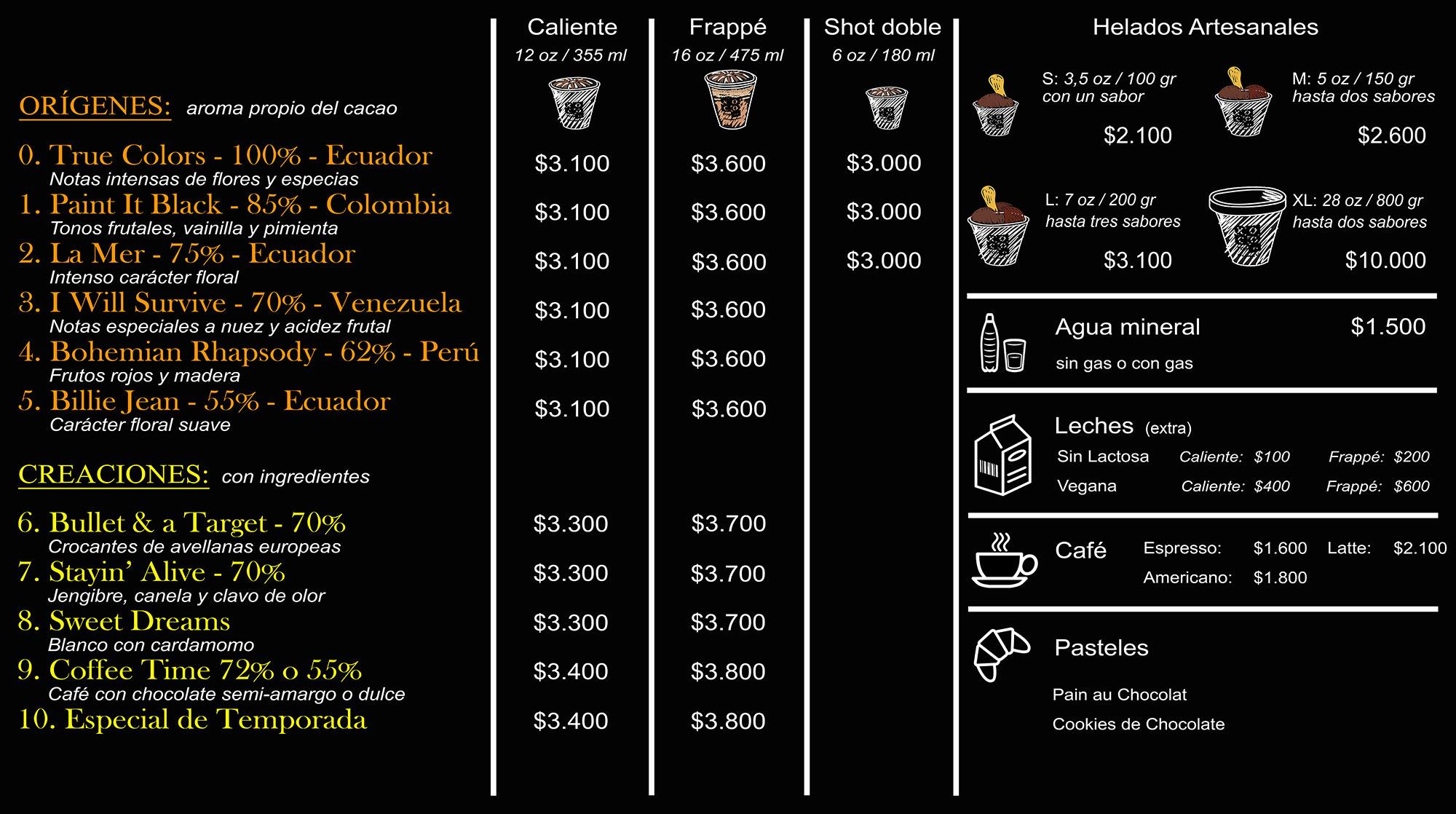 menu precio xoco